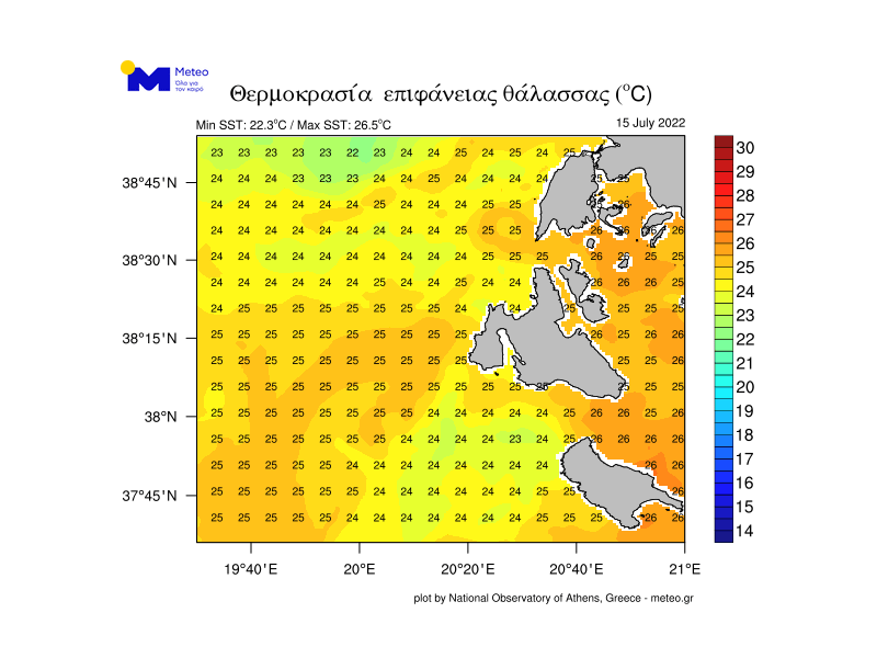 Wassertemperaturen Vasiliki-Lefkada